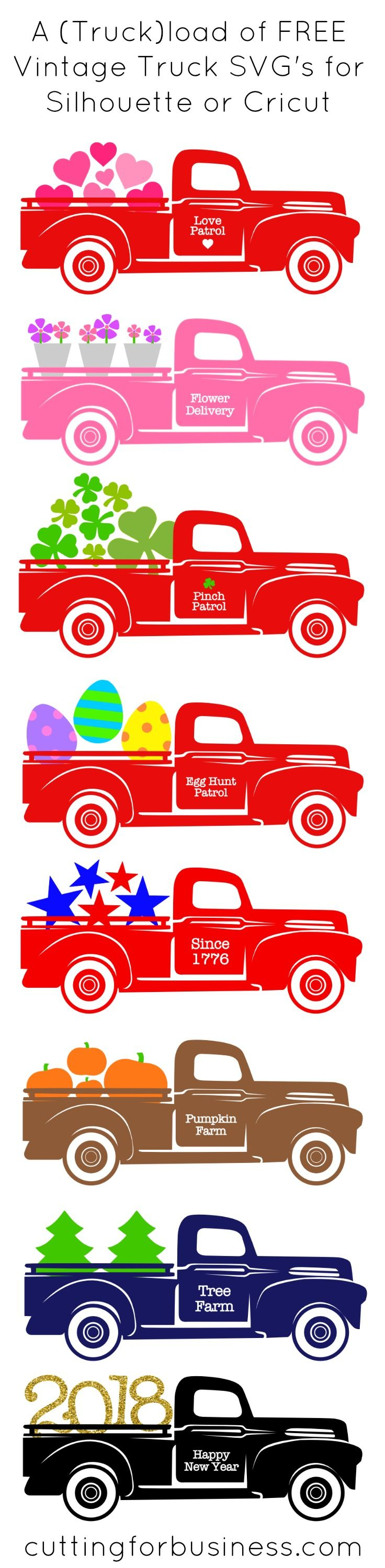A Year of Free Red Truck Holiday SVG Cut Files Vintage