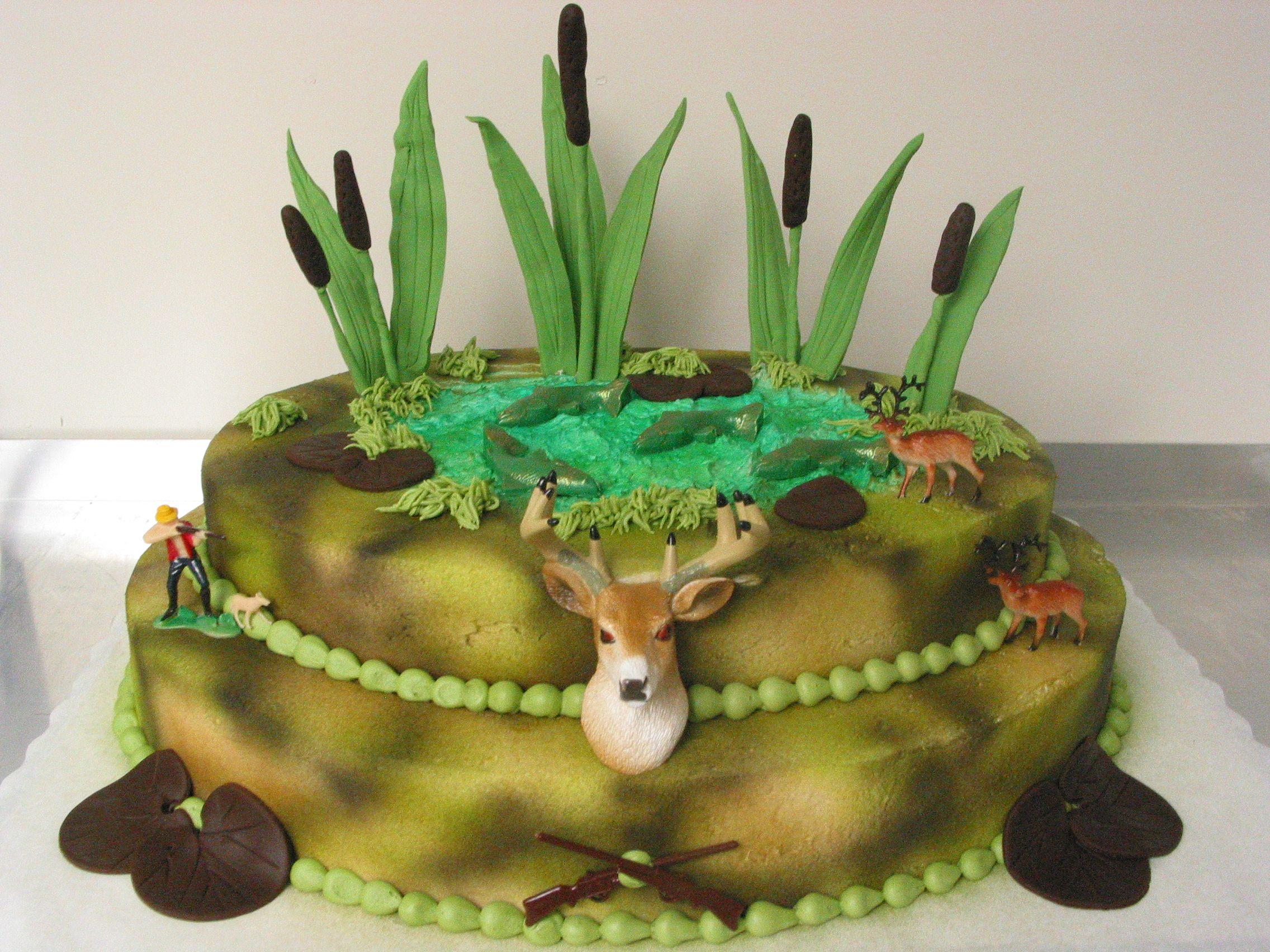 Groom Cake Deer Hunting Fishing Cattails Rifle Camouflage