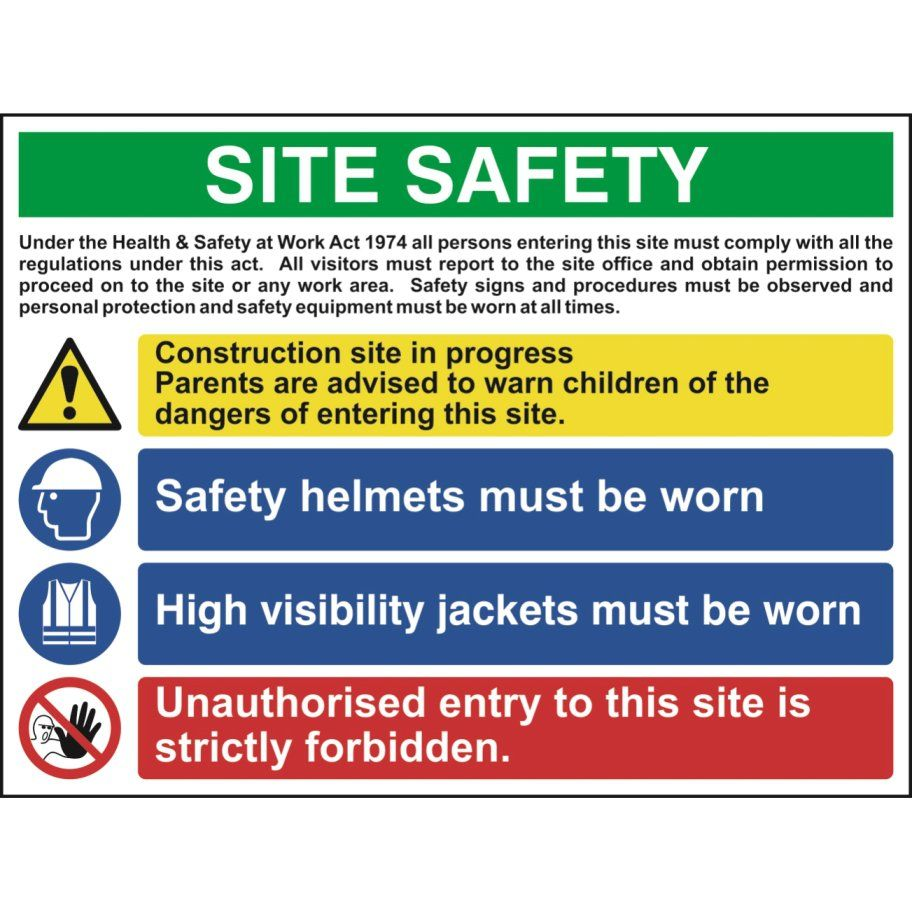 MultiPurpose Site Safety Sign With 1 Warning, 2 Mandatory