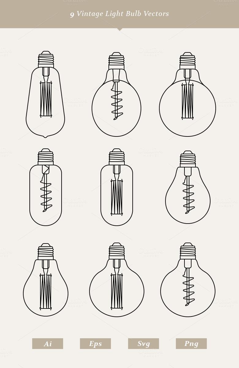 9 Vintage Light Bulb Vectors by Dreamstale on Creative