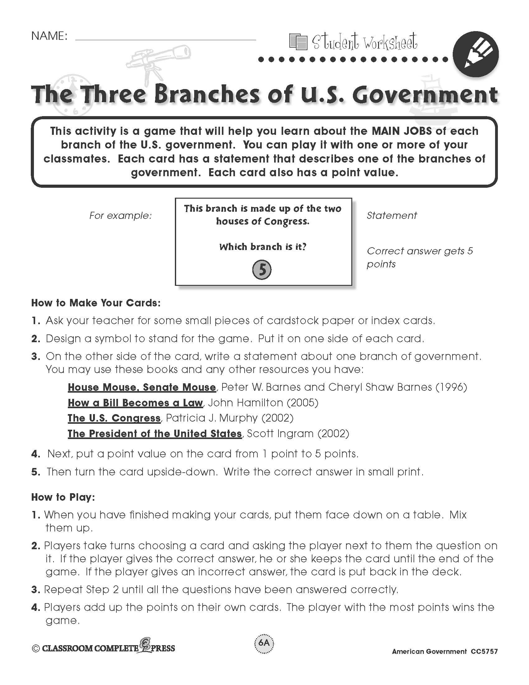 Worksheet Virginia State Government