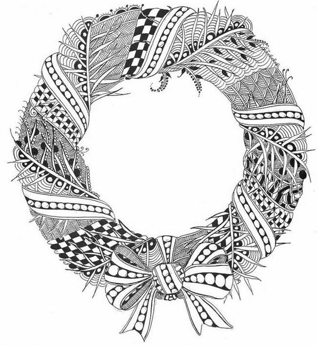 Christmas Coloring Page Printable wreath Christmas