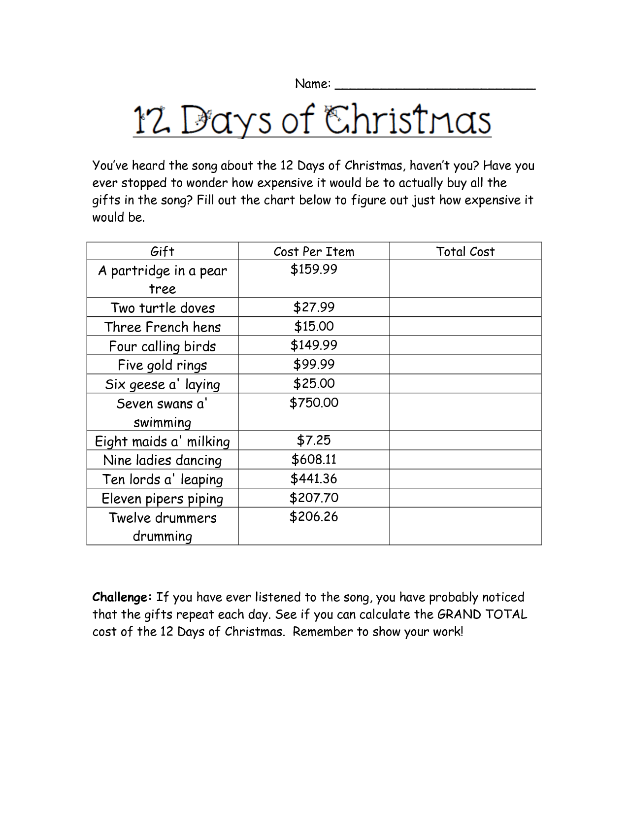 Holiday Math Worksheet