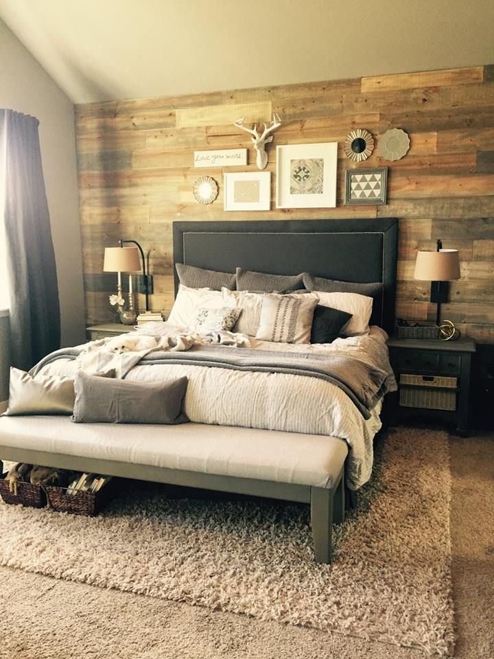 Stained Shiplap wall in bedroom DIY Projects Pinterest