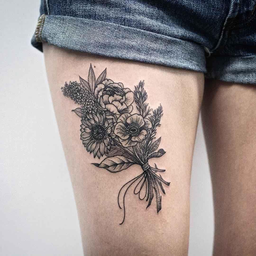 Bunch of Flowers Tattoo tattos Pinterest Tattoo