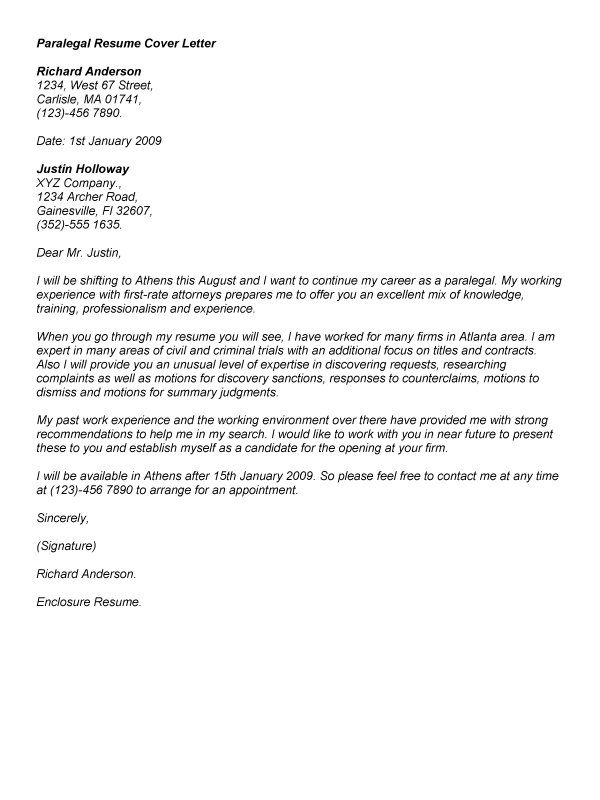 Example Of Paralegal Cover Letter For Job Application Cover Letters Paralegal Resume