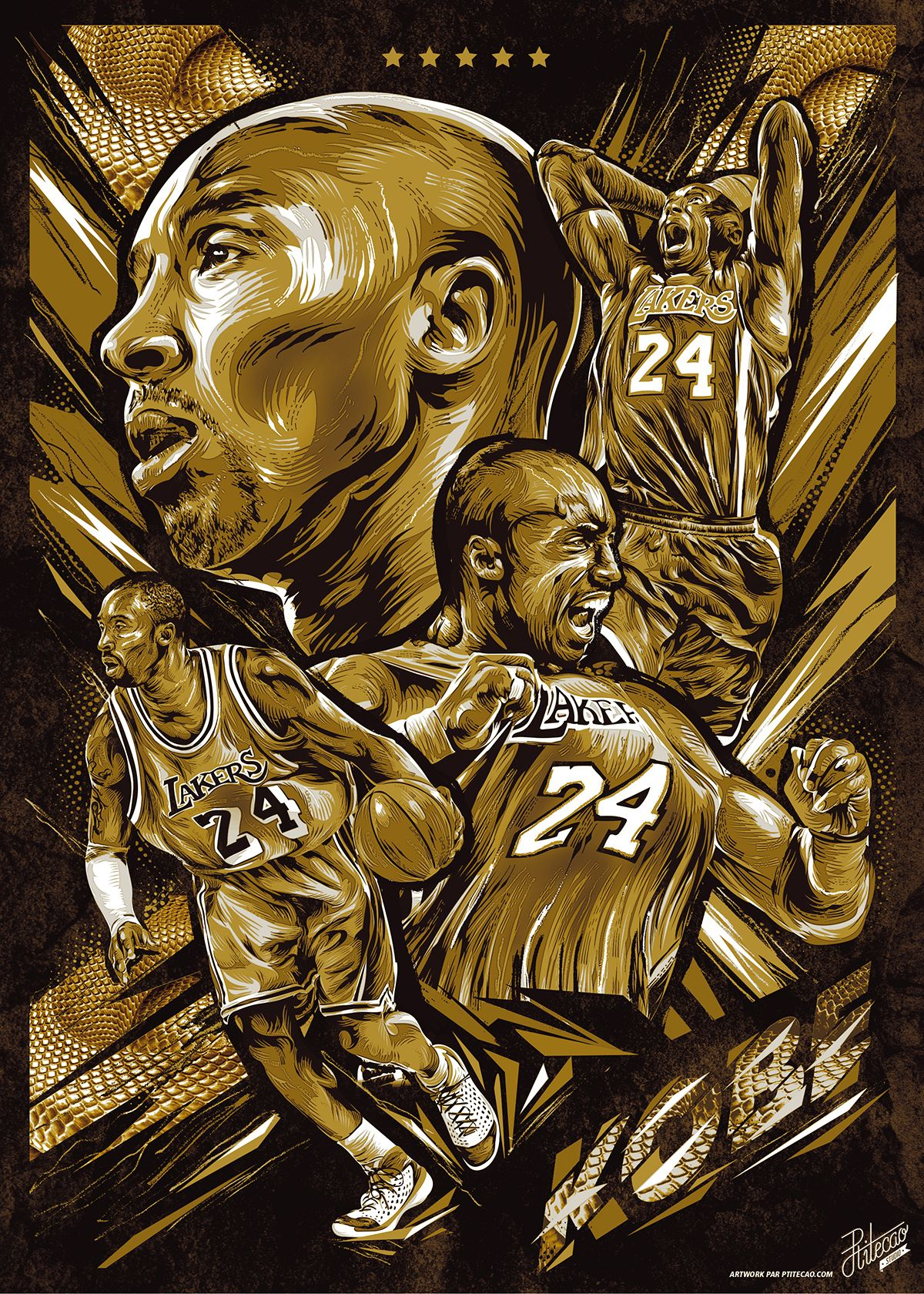 Kobe Bryant Golden Snake Vector Poster Art Pinterest