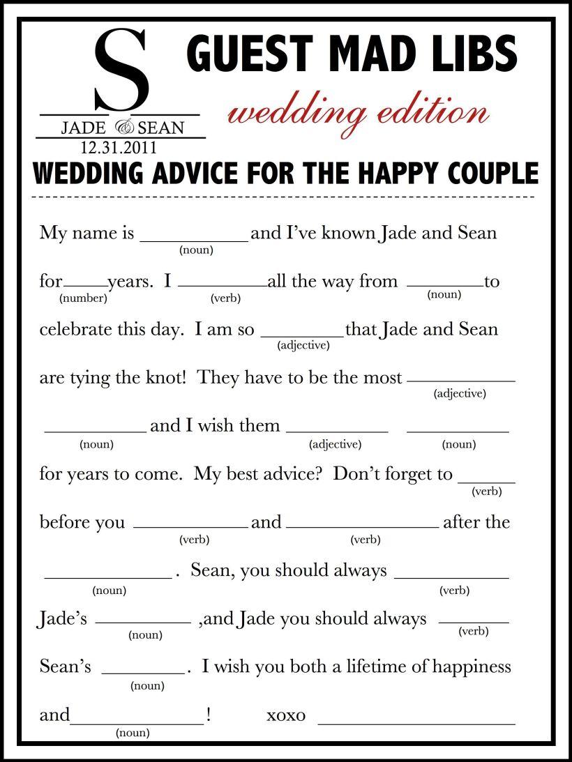 Nice Mad Libs For Wedding Reception Festooning - Wedding Idea 2018 ...