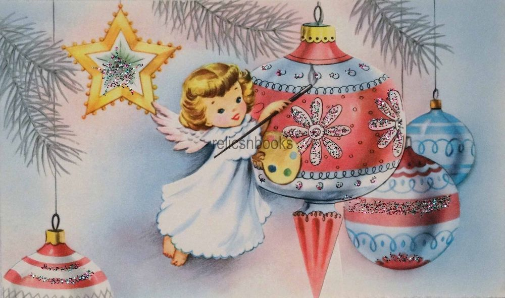 1337 50s Glittered Angel Paints The Ornaments Vintage