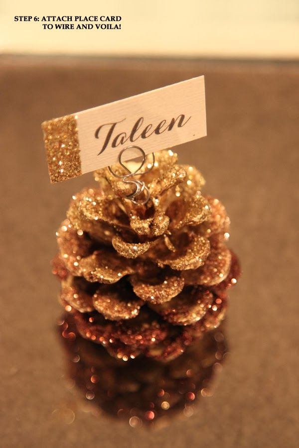 Simple Little Details DIY Glitter Pine Cone Place Card