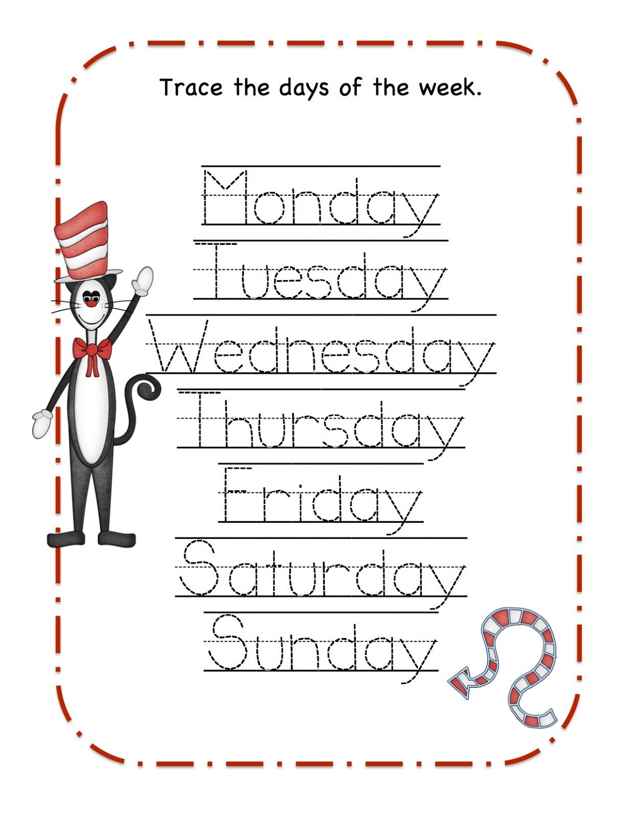 Kindergaren Worksheet Dr Seuss Printable