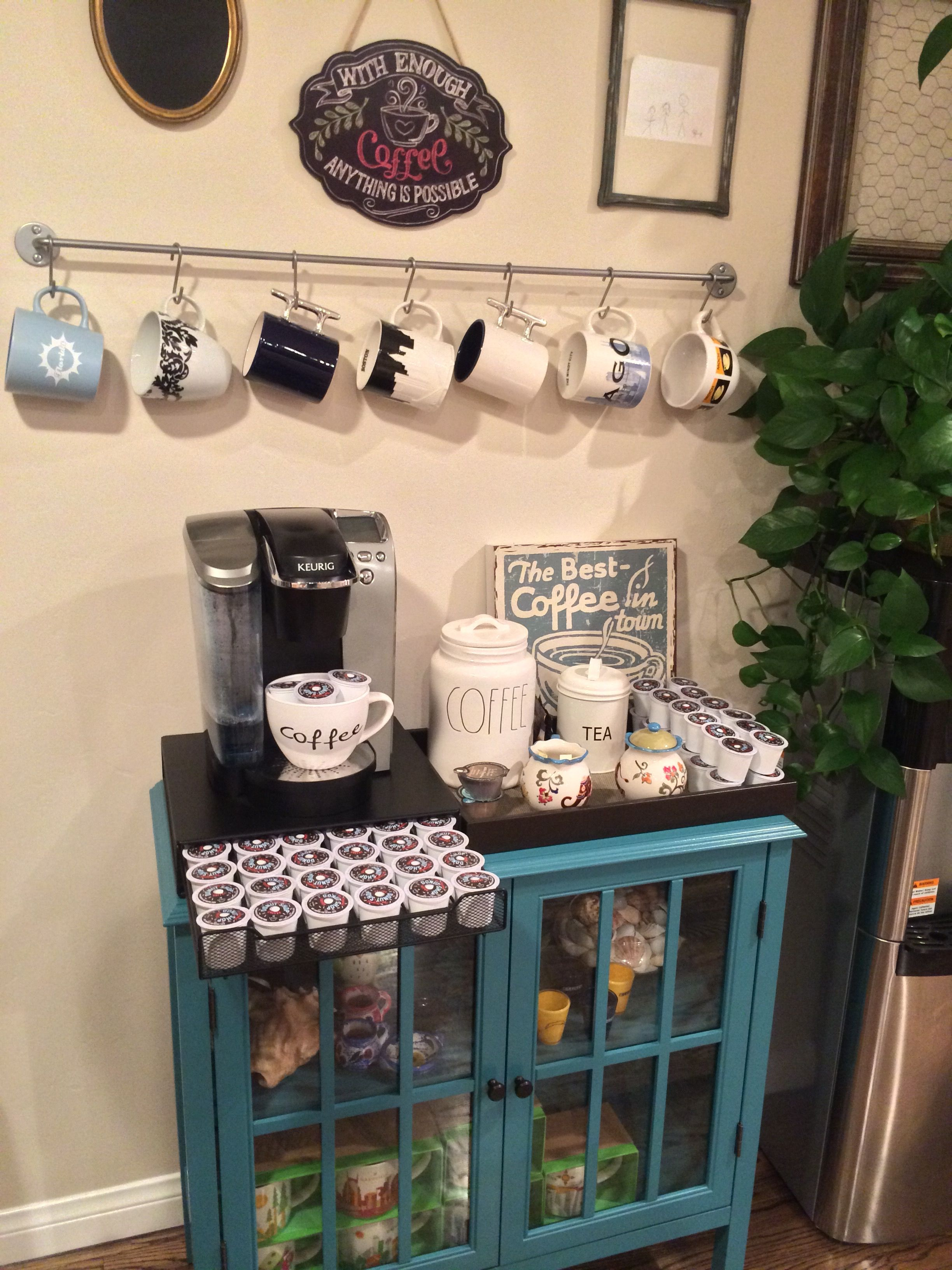 A cute idea for any coffee lover. Fully Stocked Coffee Bar