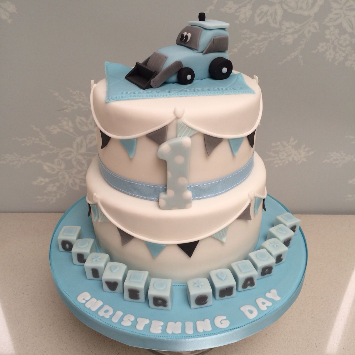 Little Boys Joint Christening And 1st Birthday Cake Cute