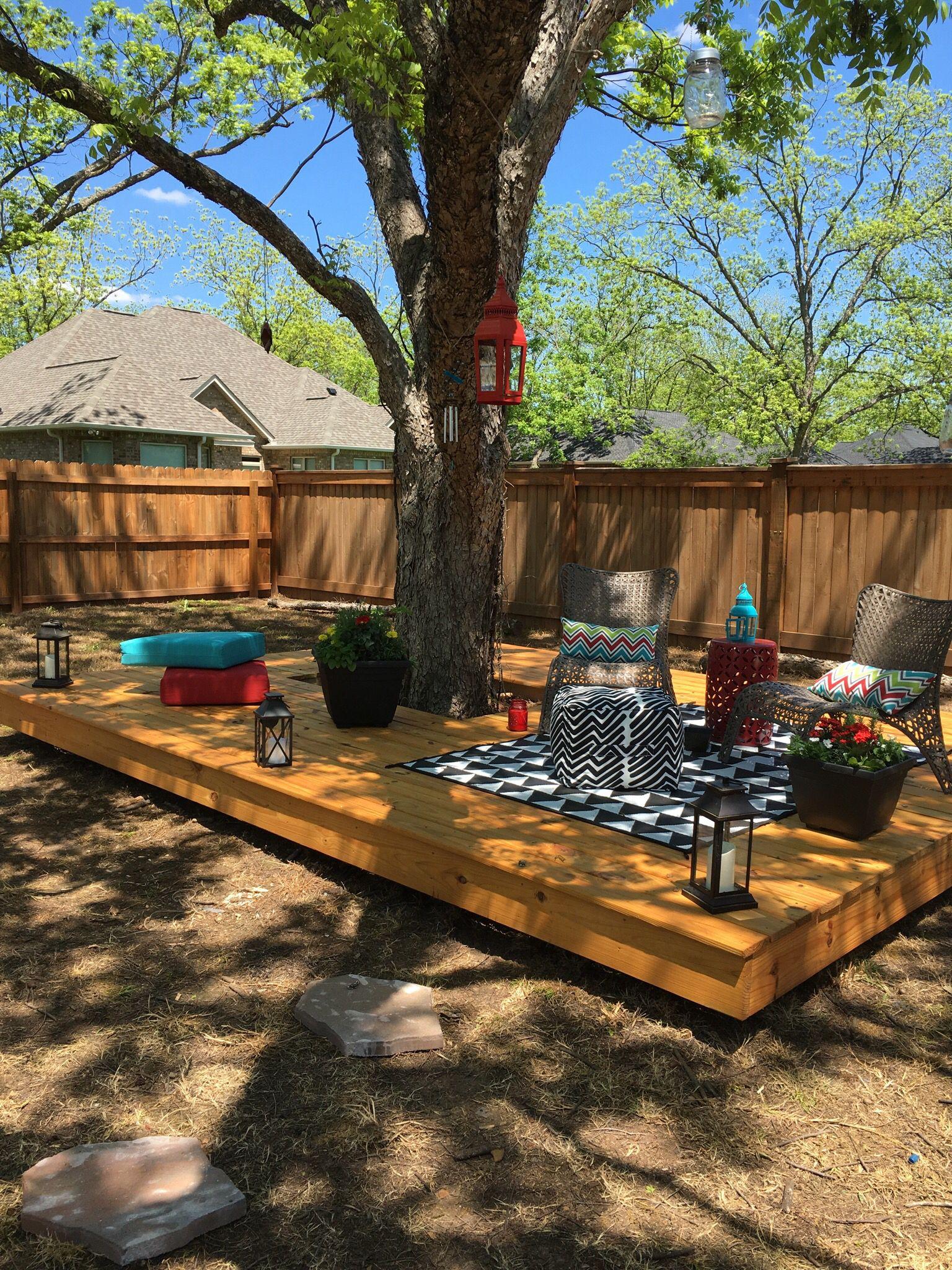 Floating deck around a tree. Back yard Pinterest
