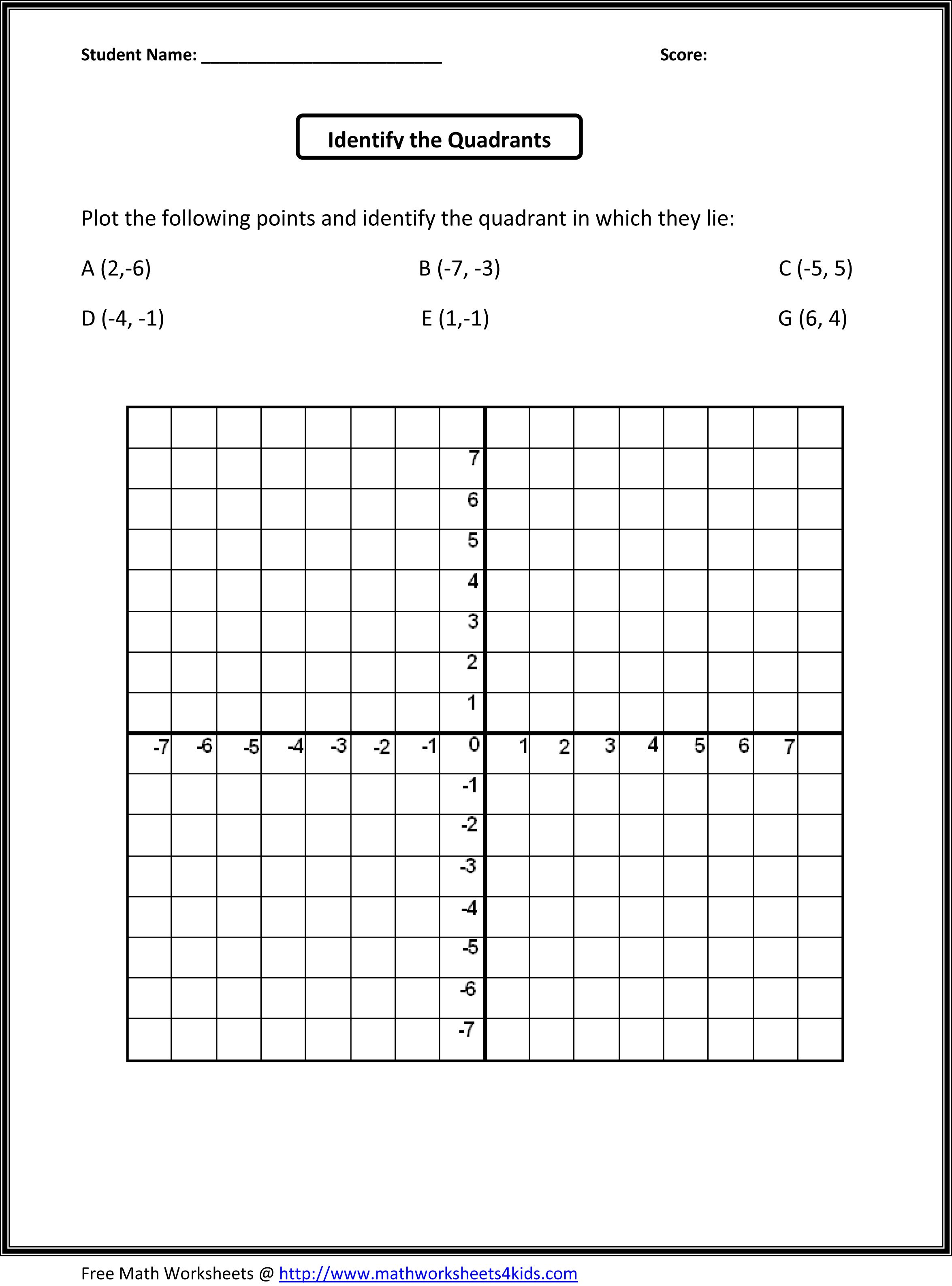 4 Quadrant Grid Worksheet