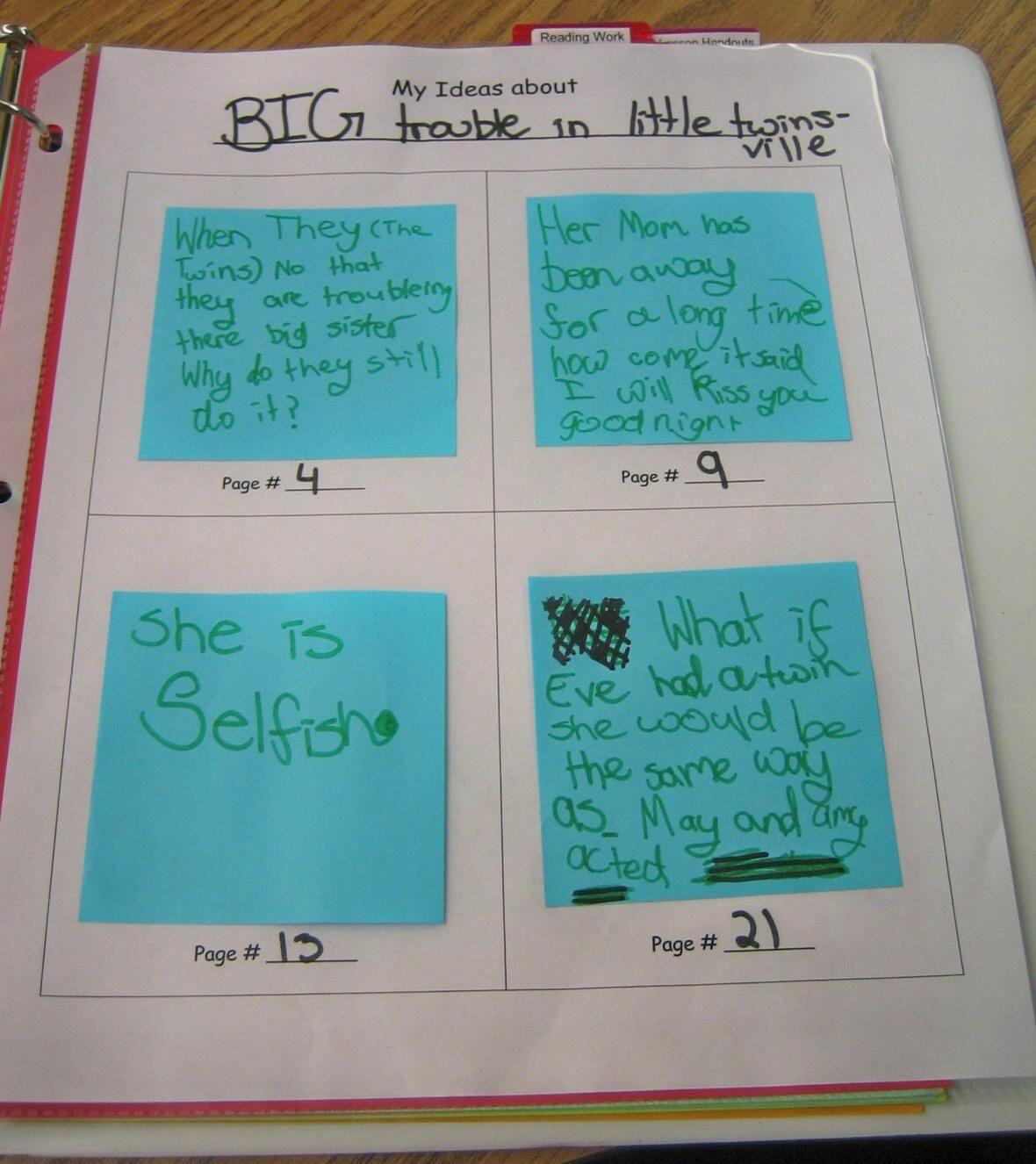 Reader S Notebook Sticky Note Tracker My Students Love
