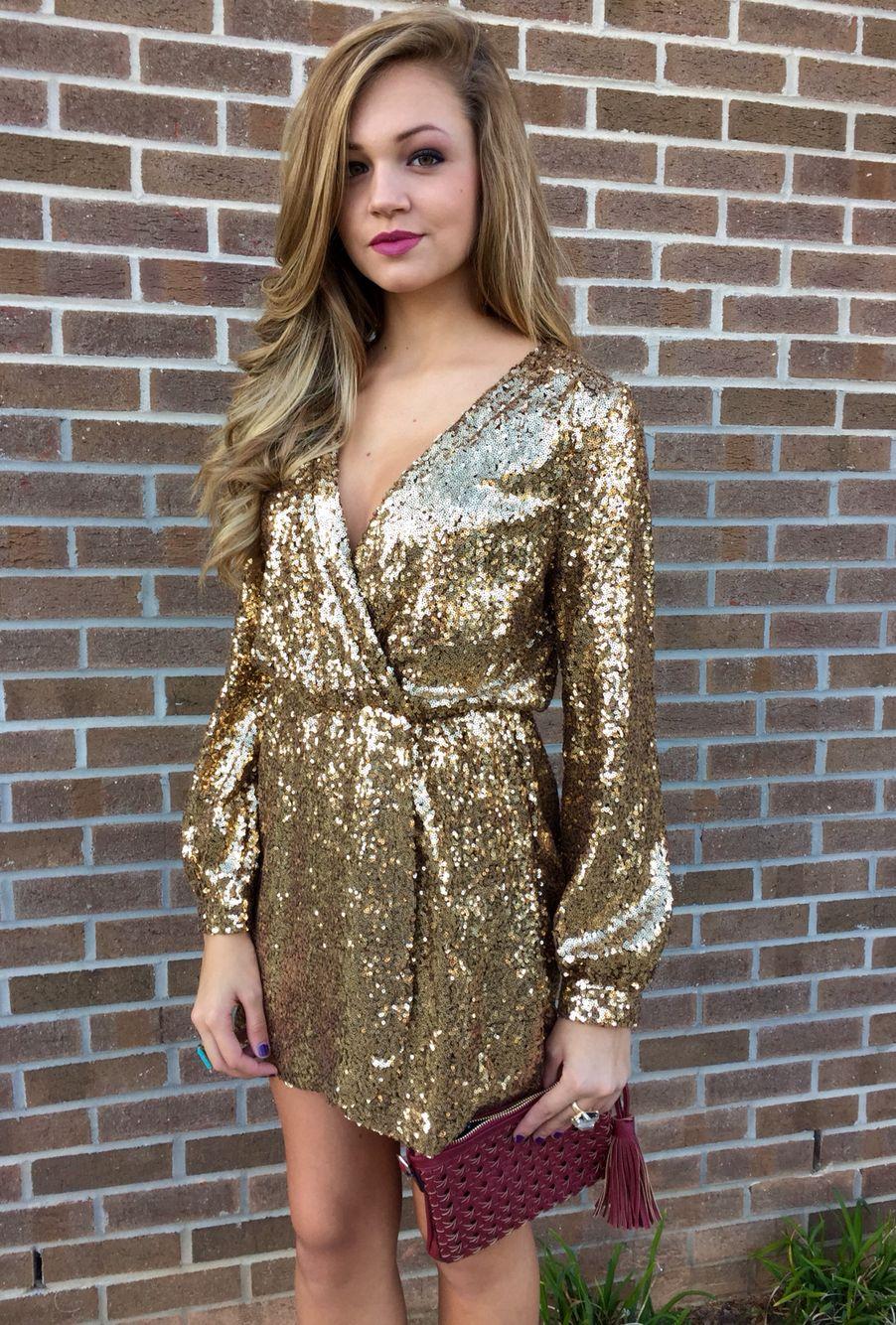 Gold sequin wrap dress swoonboutique looks Pinterest
