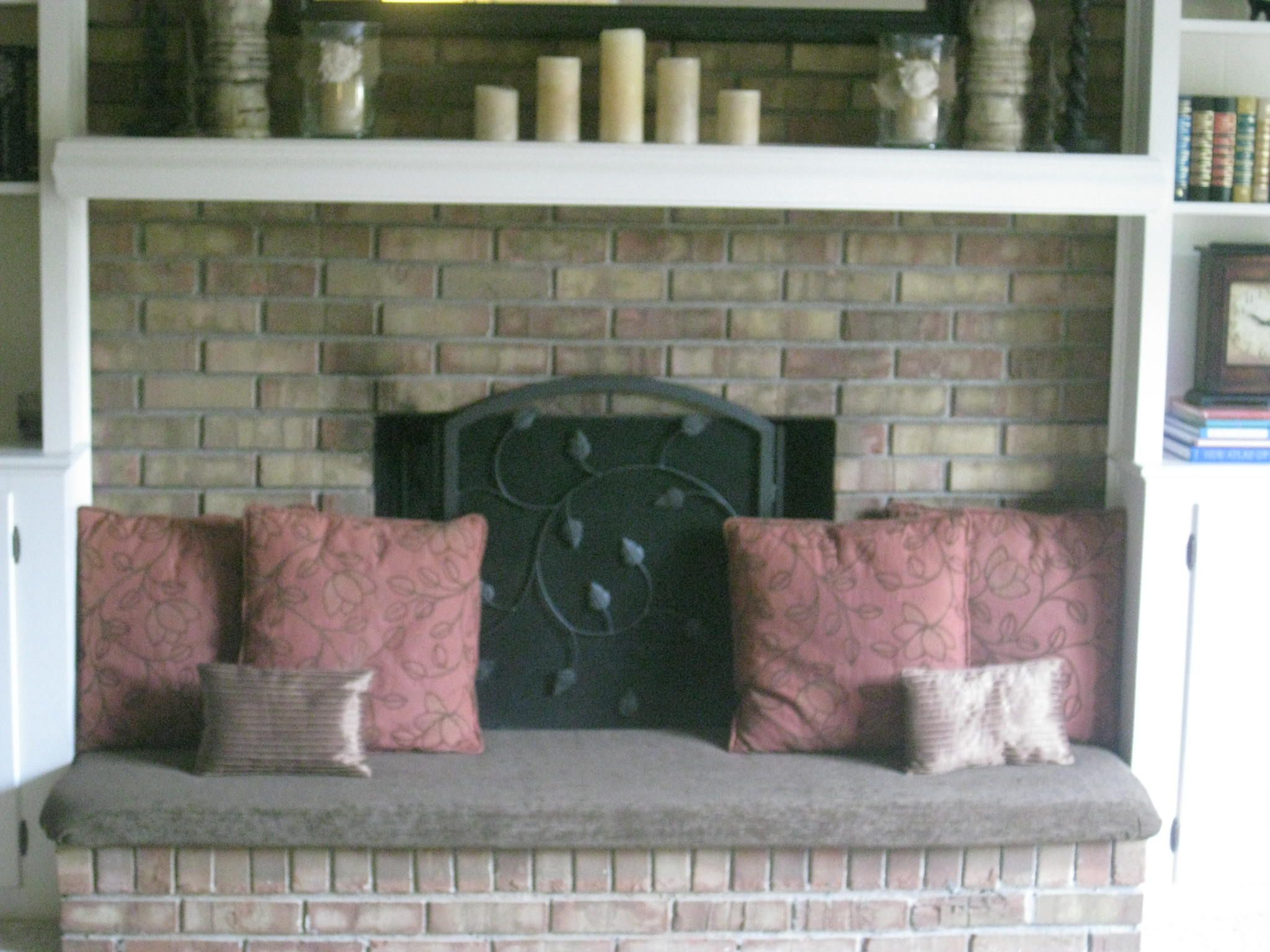 Fireplace hearth cover...added seating and safer for