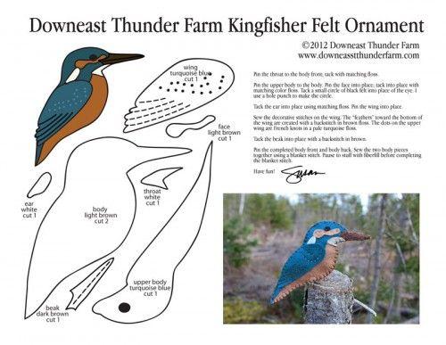 Common Kingfisher Felt Ornament Pattern Stuffed Animal