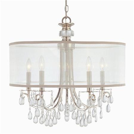 Modern Glam Shaded Crystal Chandelier 5 Light 2 Finishes A Sleek