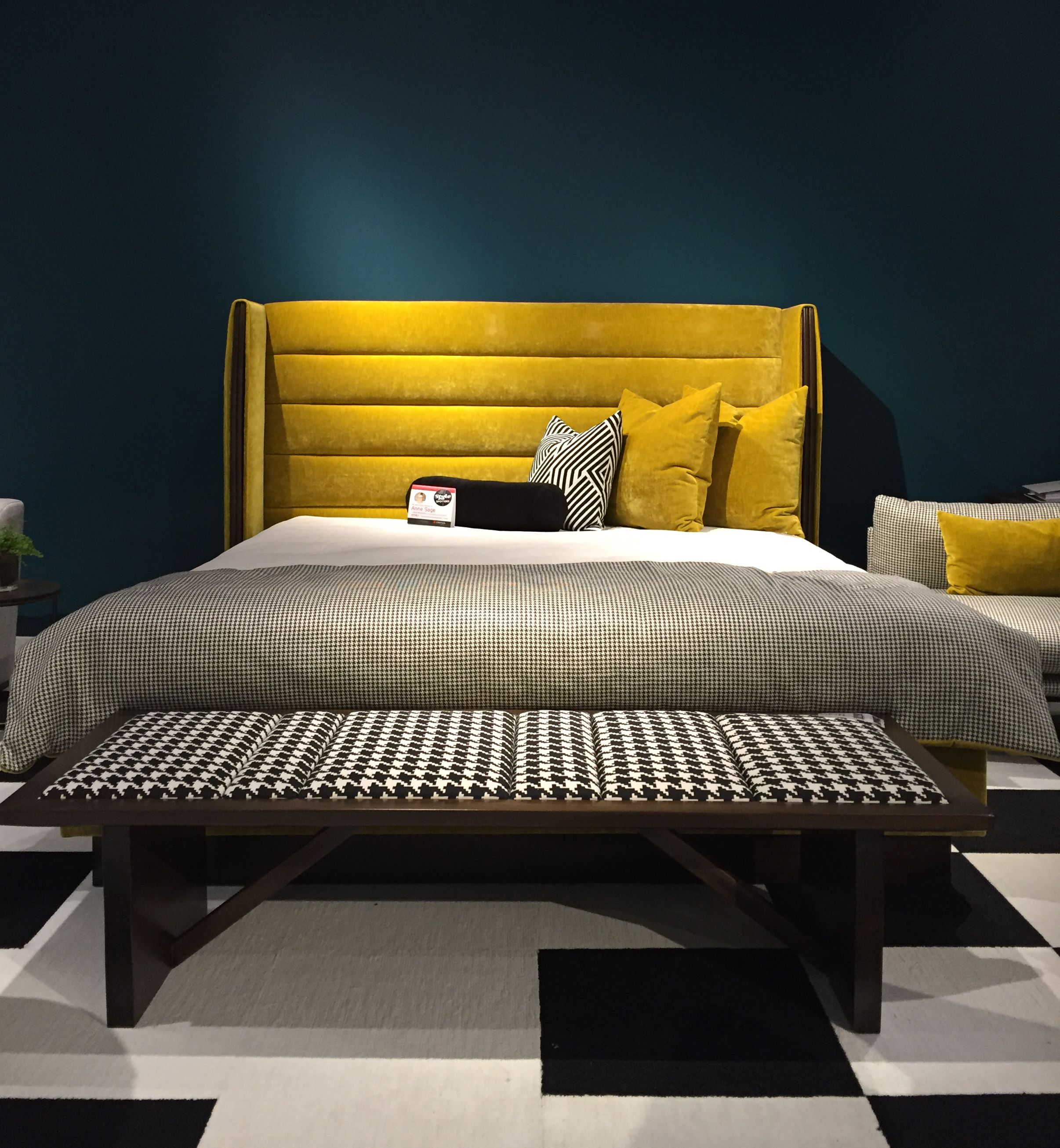 horizontal channel tufted headboard in a rich