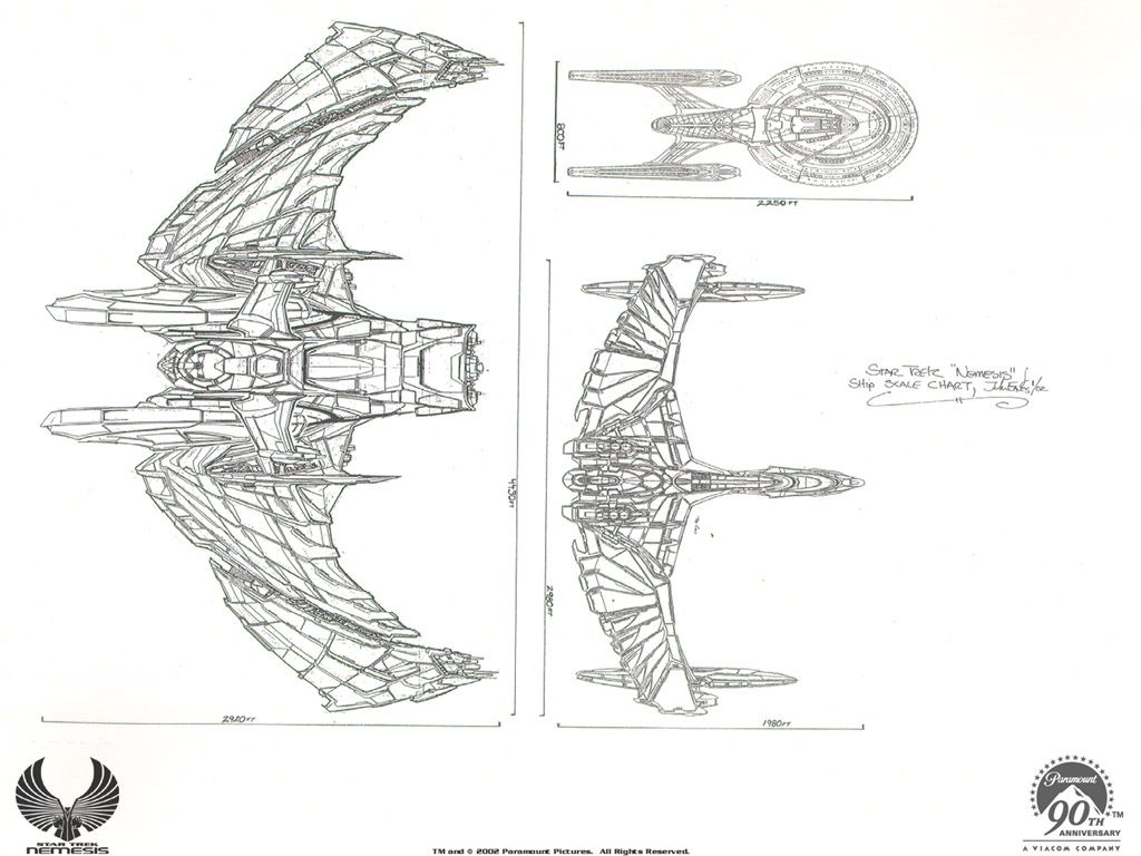 Star Trek Nemesis Ship Comparison Scimitar V Valdore