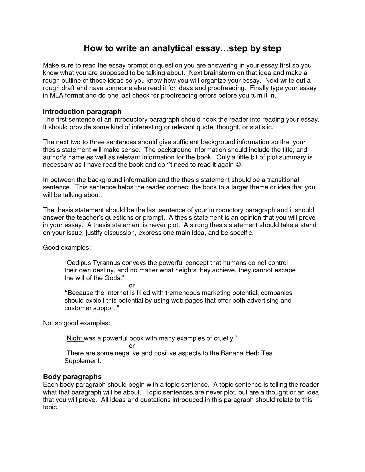 Sampleytical Essay Outline