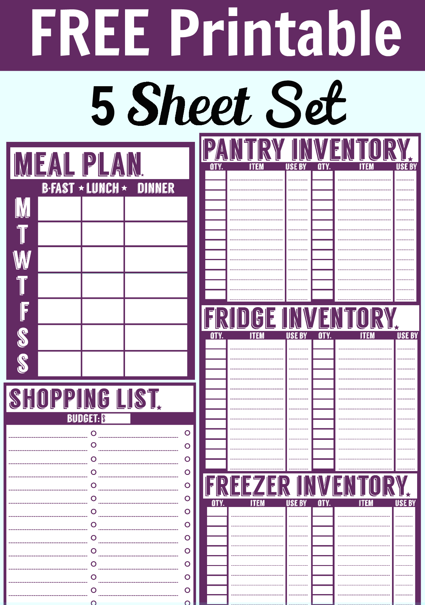 Free 5 Sheet Printable Set Menu Planner Shopping List