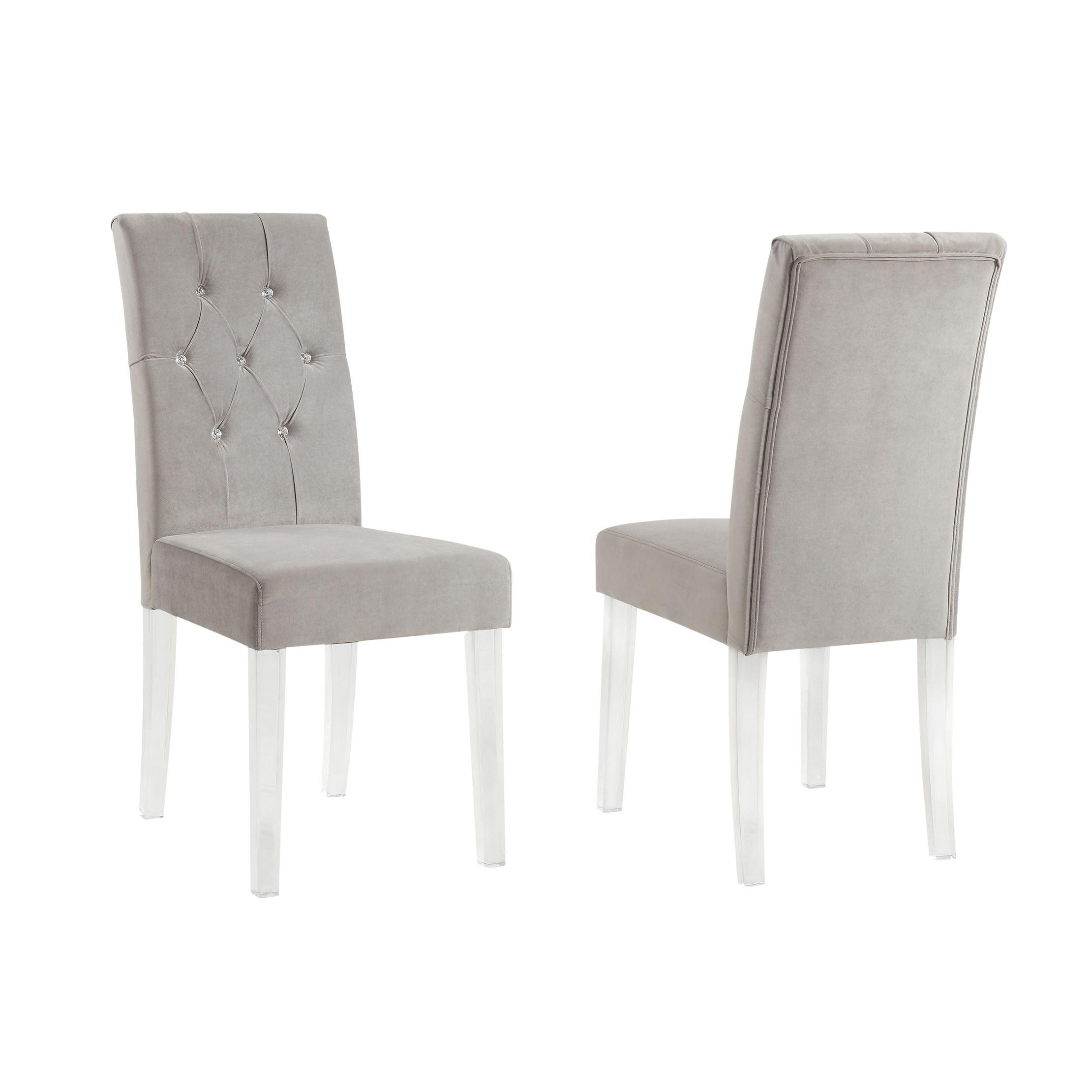 Cavalli Crystal Studded Velvet Dining Chairs With Acrylic