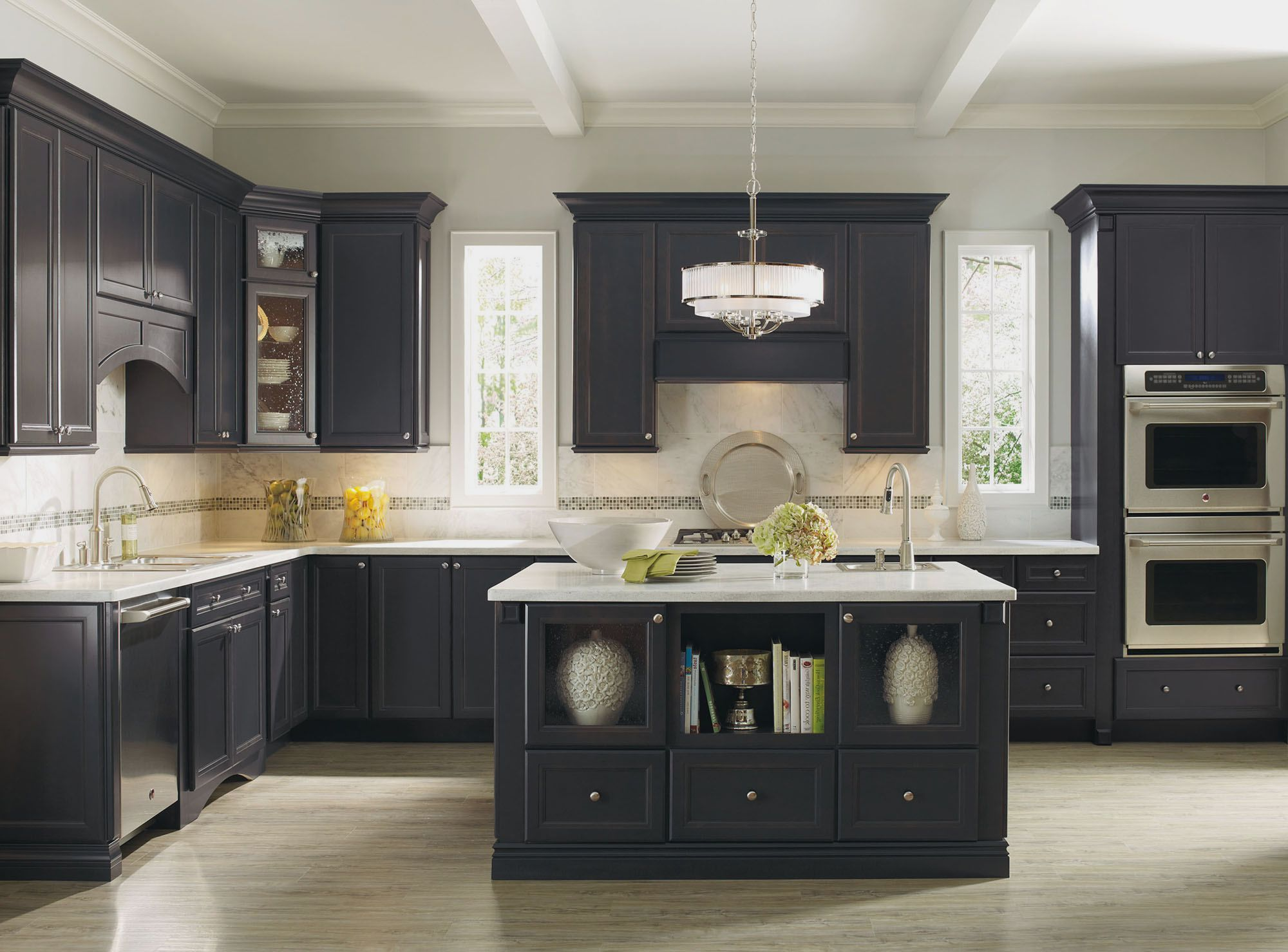 Grey Tiles Ikea Backsplash With Grey Wooden Kitchen Cabi