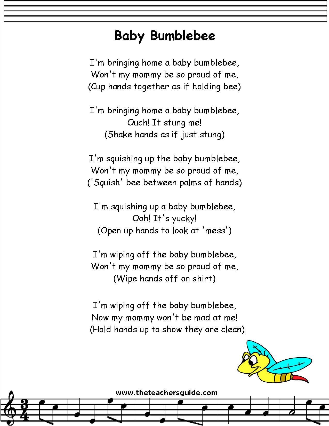 Babybumble Bee Lyrics Printout