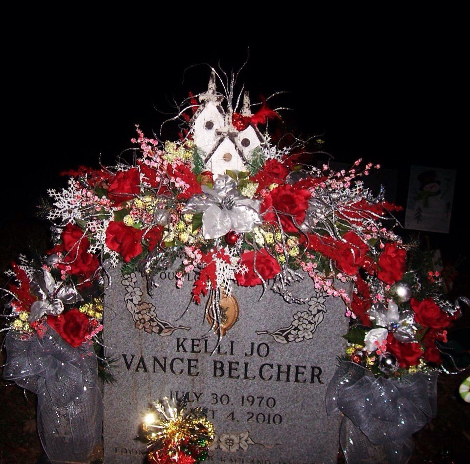 Christmas grave saddle for my sister. Angela's flowers