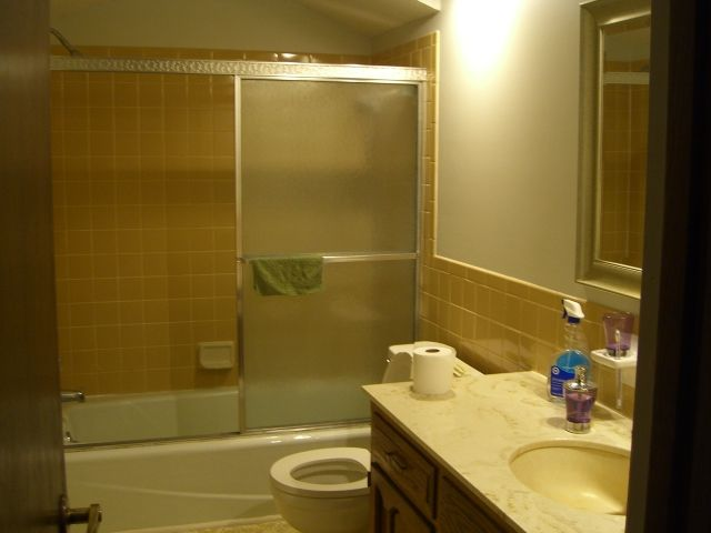 Bathroom Makeover; Yellow & Gray Color Scheme