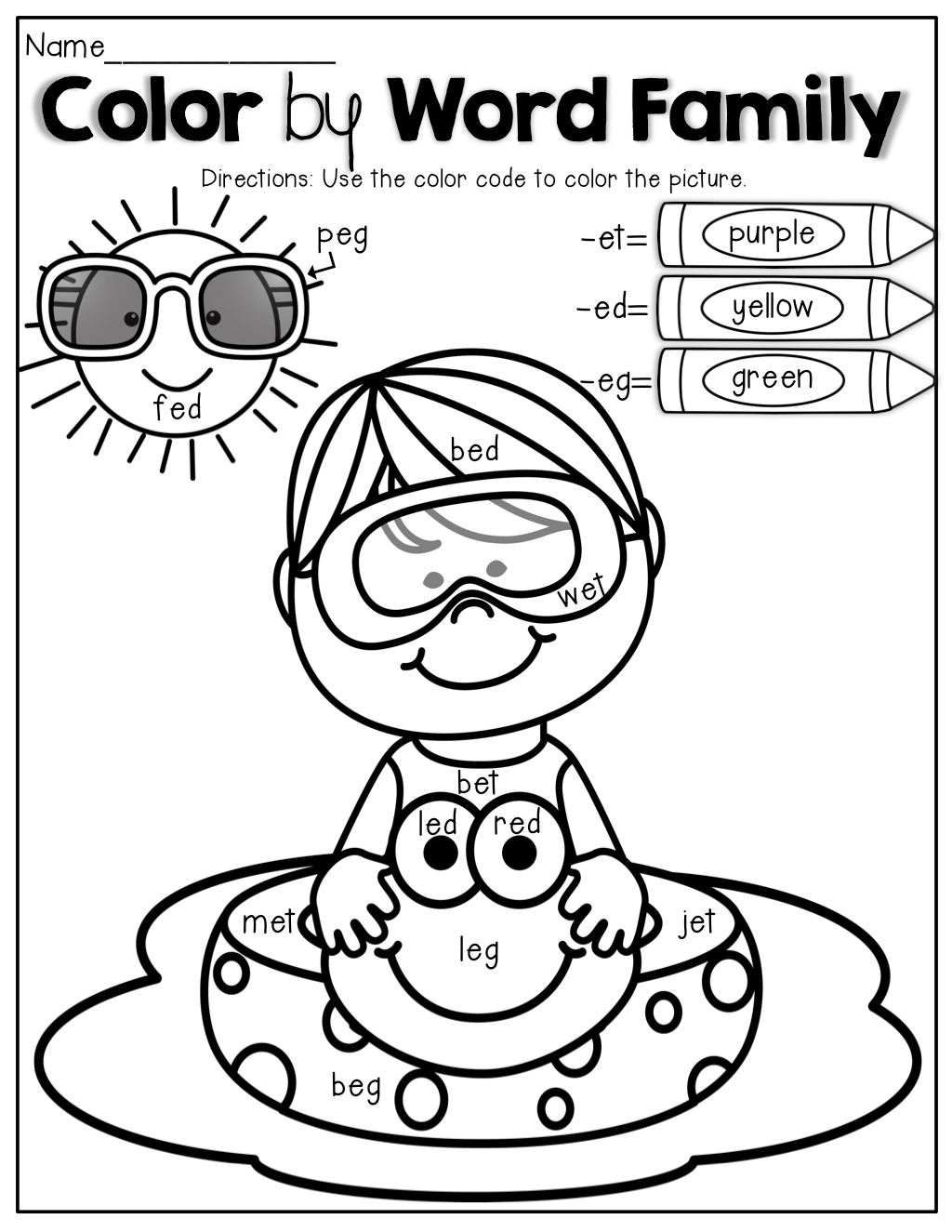 Color By Word Family An Educational Coloring Book That