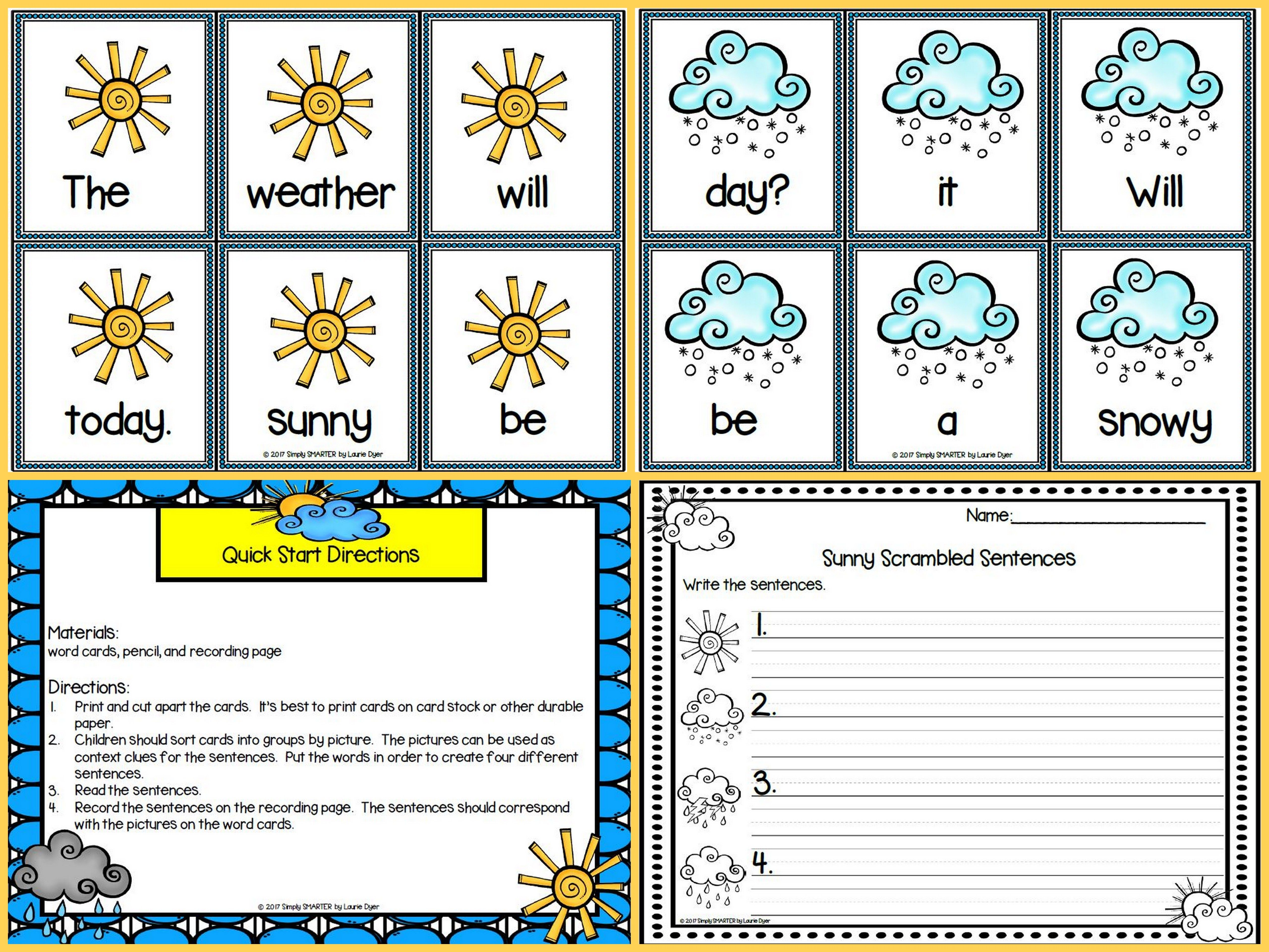 Sunny Scrambled Sentences Low Prep Weather Themed