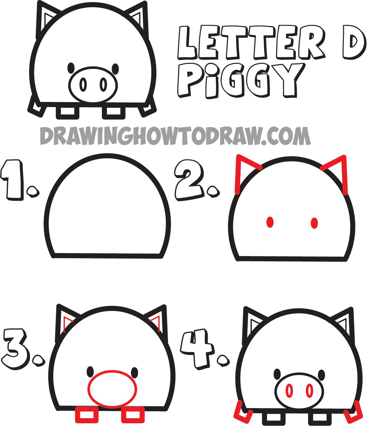 how to draw cartoon pigs from the letter D shape Drawing