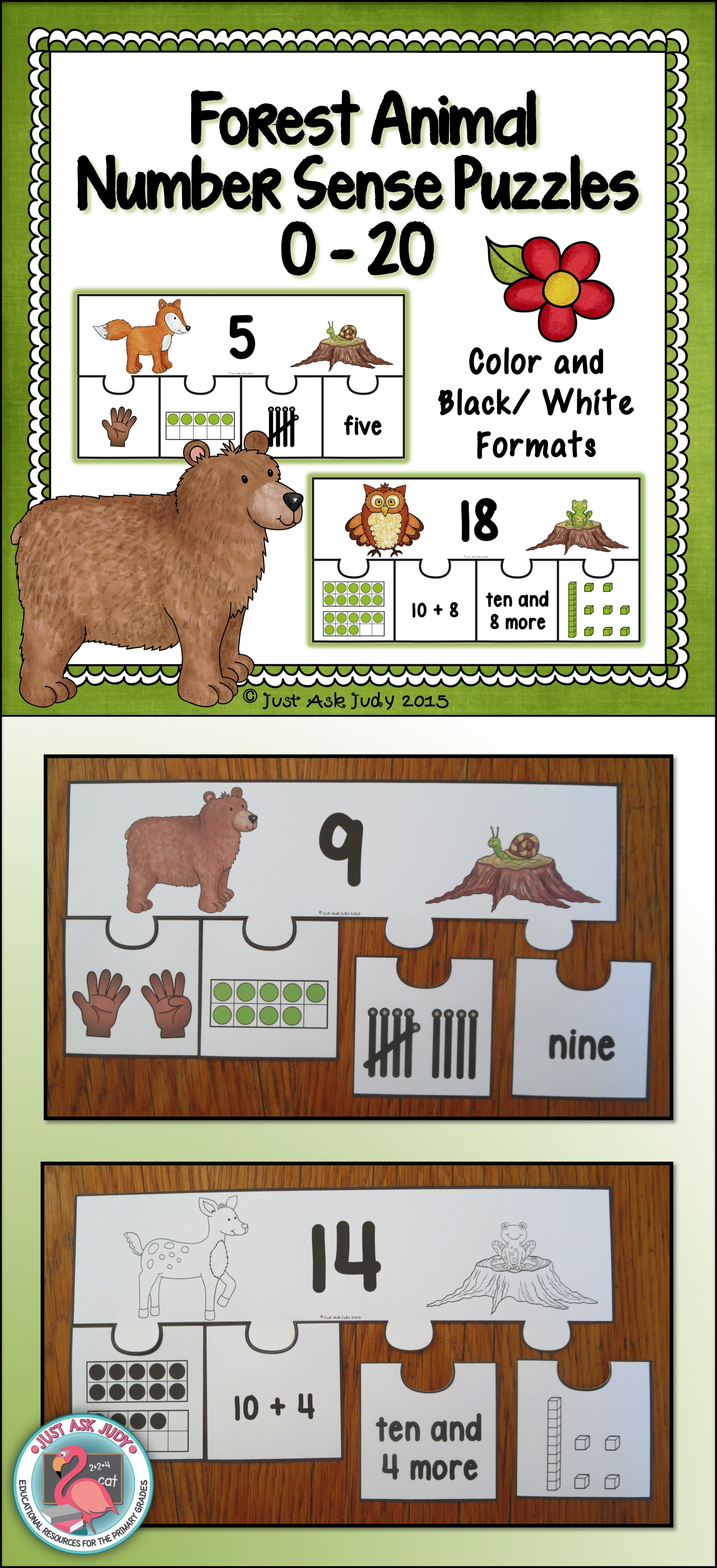 Number Sense 0 20 Forest Animal Puzzles