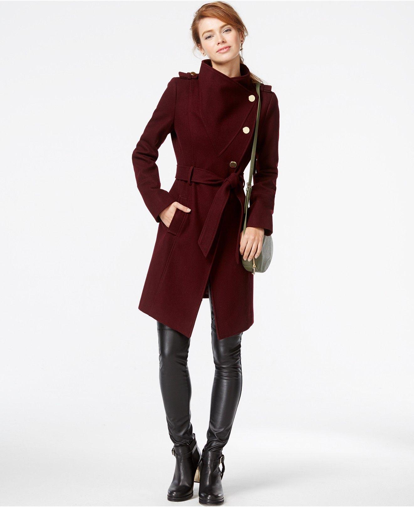 GUESS Funnel Collar Asymmetrical Coat GUESS Coats Amp Jackets Women Macys LooksJacket