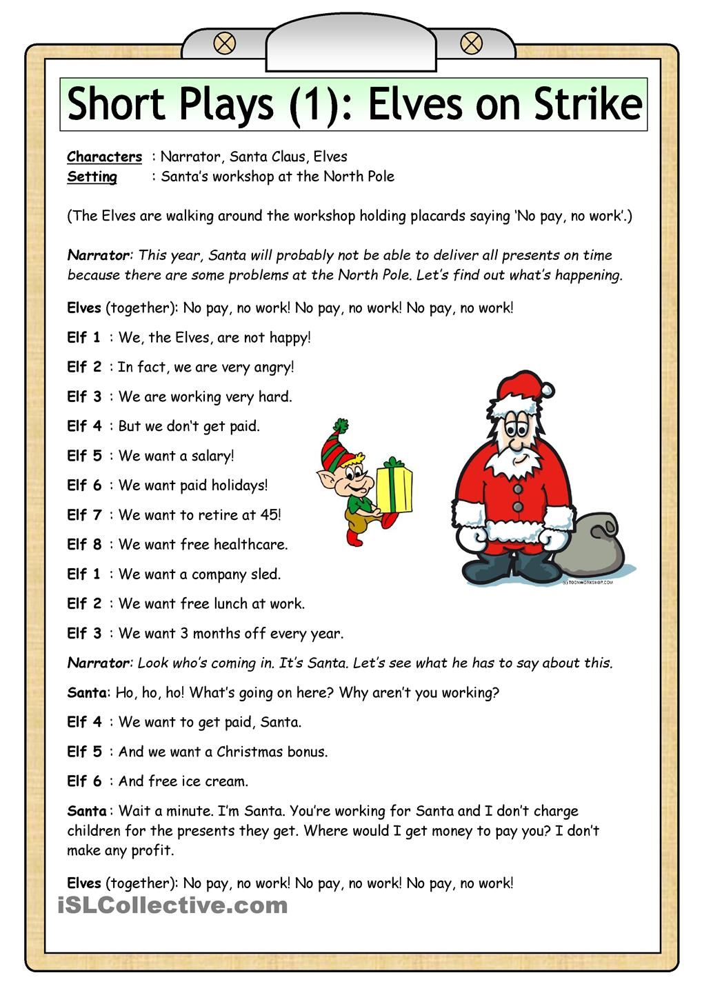 Short Plays (1) Elves on Strike CHRISTMAS Pinterest