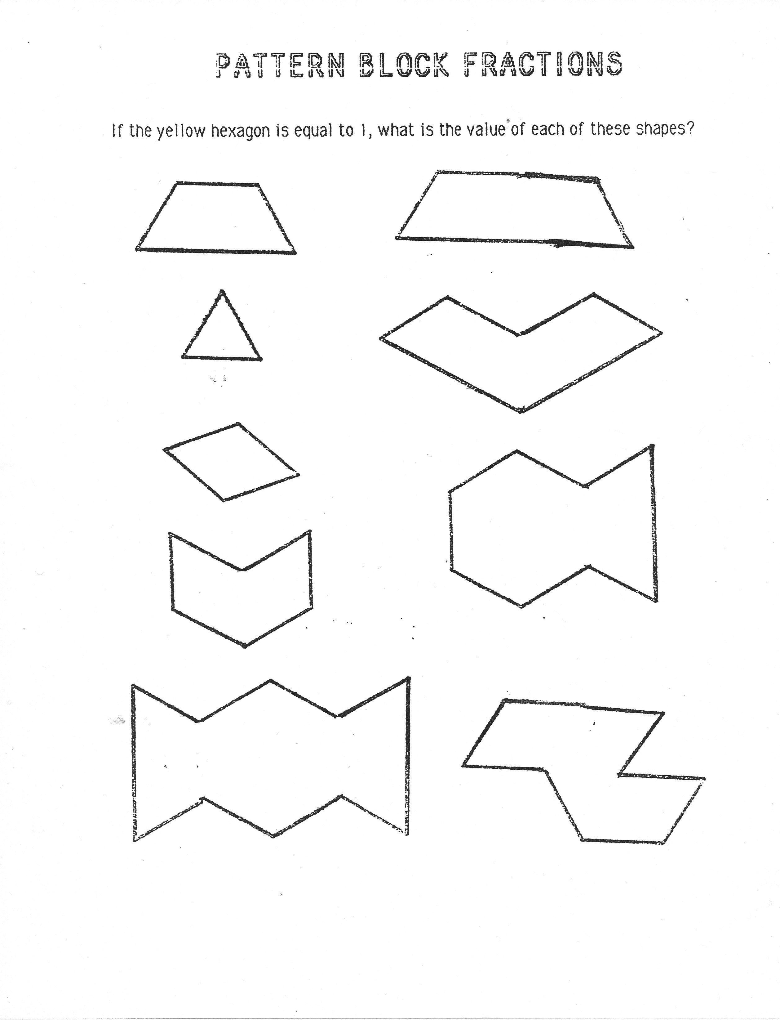 Pattern Blocks Fractions Block Fractions
