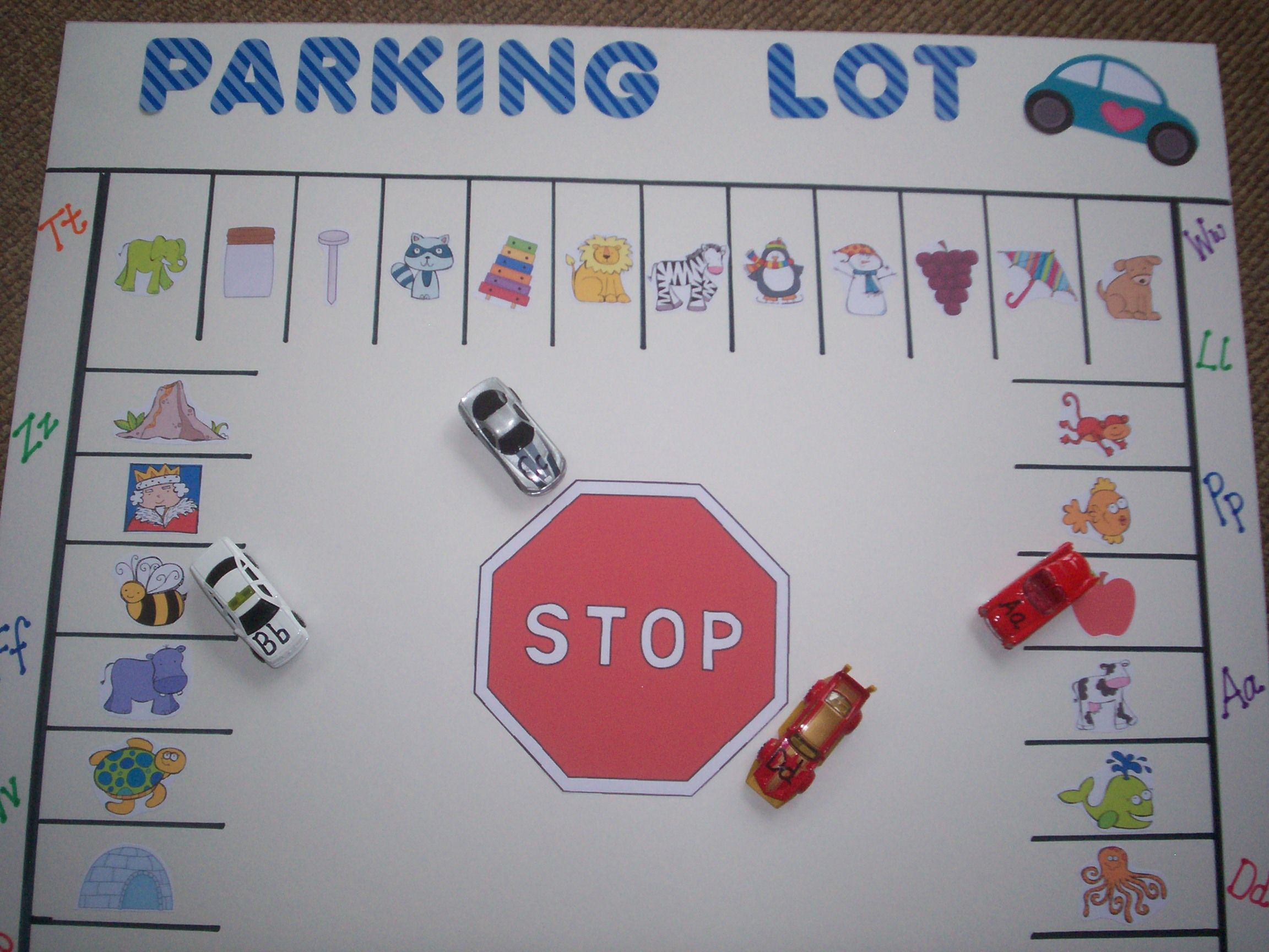 Parking Lot Alphabet Letter Sound Literacy Match Game I