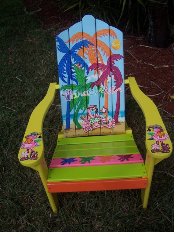 Tropical Adirondack Chair Handcrafted Hand Painted Livin