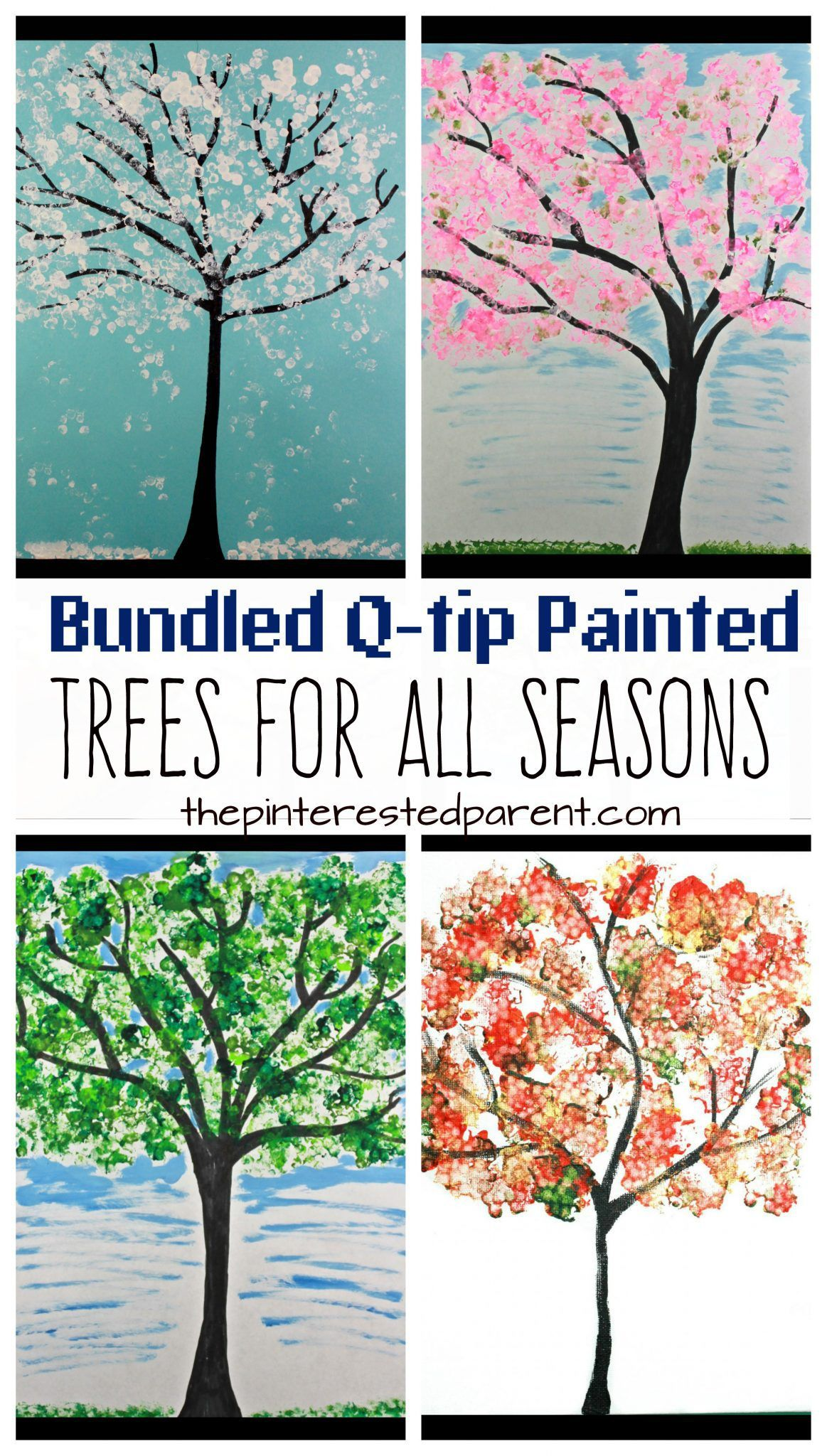 Easy Bundled Q Tip Stamped Tree Paintings For Every Season