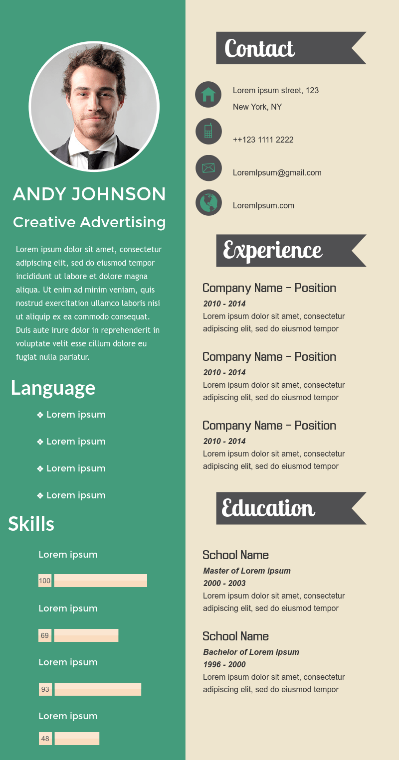 Simple professional visual resume available in Visme