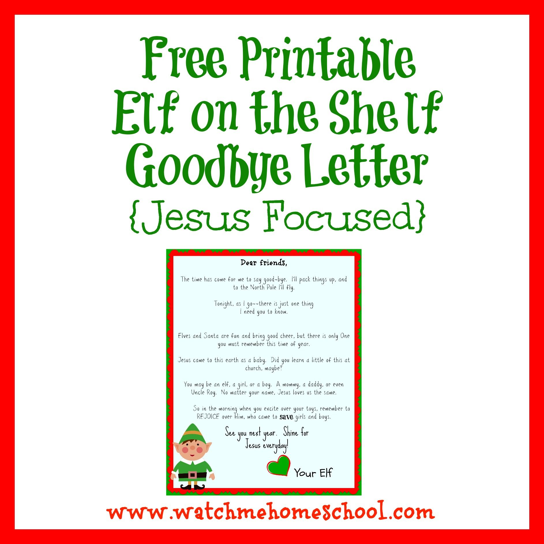 Free Printable Elf on the Shelf Goodbye Letter {Jesus