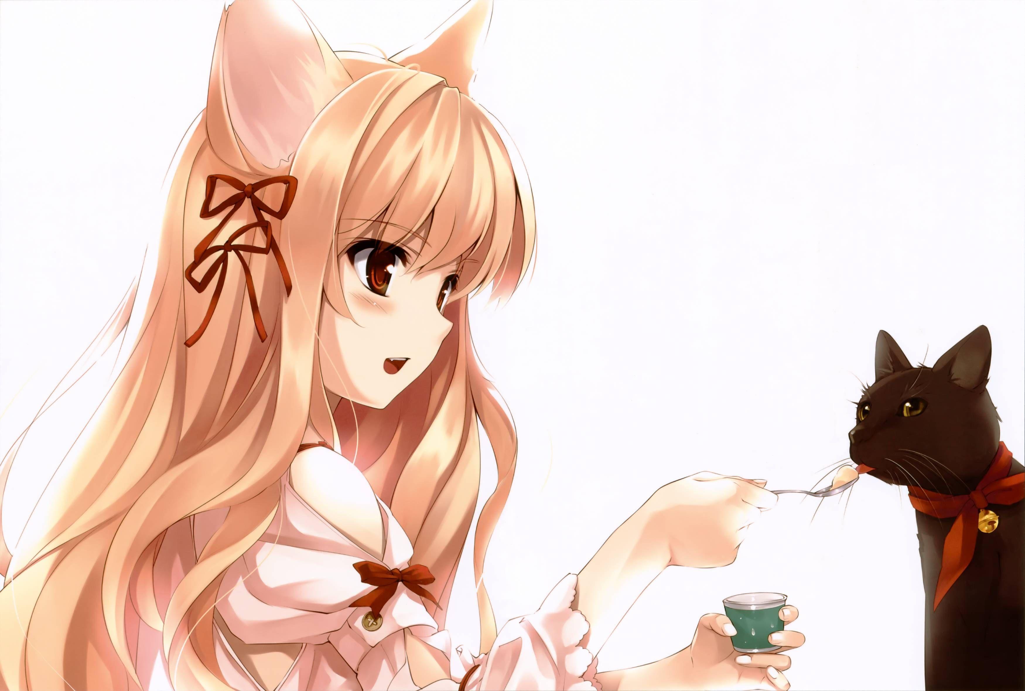 Cute catgirl feeding a cat Anime Girl Pinterest