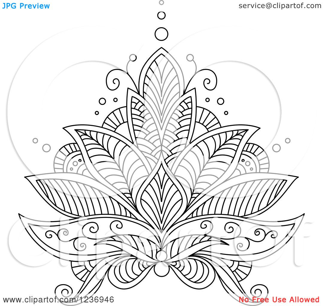 Clipart of a Black and White Henna Lotus Flower 6