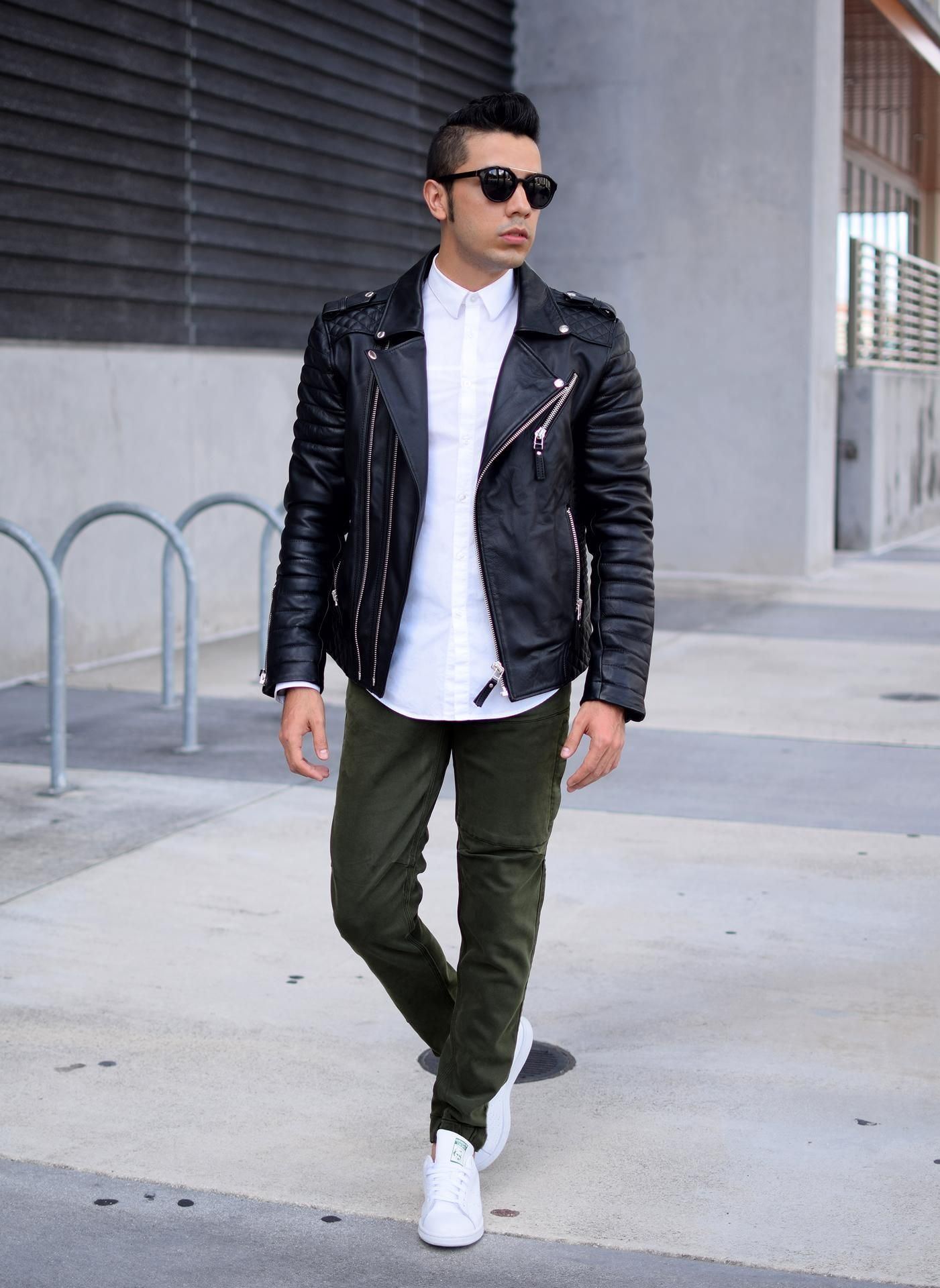 Men's Black Leather Biker Jacket, White Dress Shirt, Olive