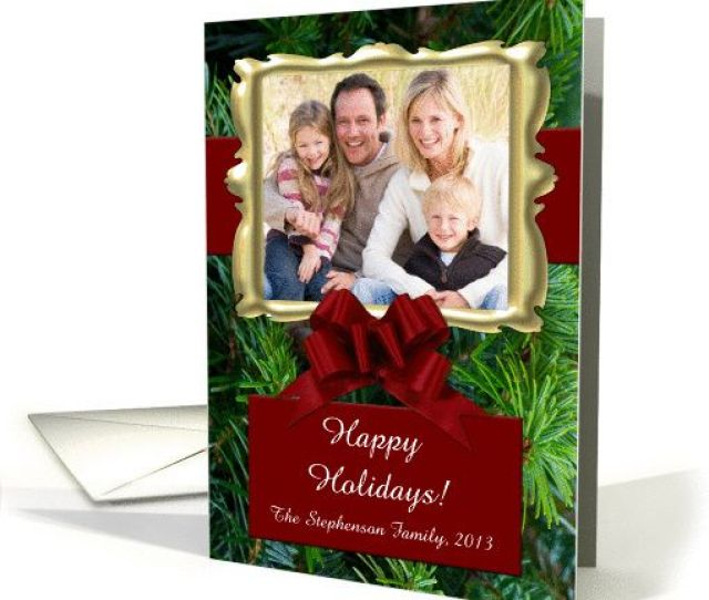 Elegant Pine With Bow Personalized Photo Christmas Cards High Quality Folded Cards