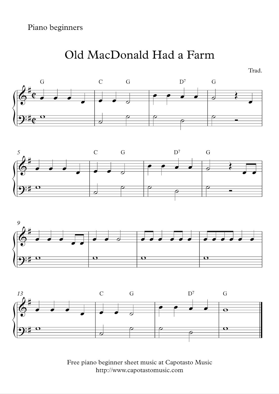 Free Sheet Music Scores Free Easy Beginner Piano Sheet